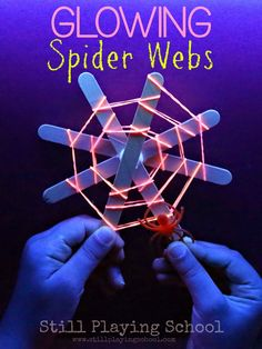 Glow in the Dark Spider Webs These spooky spider webs are a creative way to craft fine motor fun for Halloween . After the webs are made you have a color matching acti… Fine Motor Activities For Kids, Halloween Activities For Kids, Halloween Kids, Halloween Themes, Preschool Activities, Halloween Party, Halloween Spider, Halloween 2017, Therapy Activities
