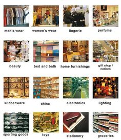 Department stores and the different types you will find in the high street English lesson
