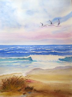 """Rolling Surf - had a couple of """"happy accidents"""" with the watercolors...and I actually like the effect I got from them :)  2014"""
