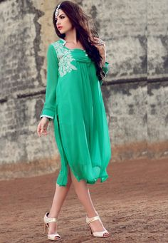 #Sky #Blue #Georgette #Kurti.  Sky Blue Georgette Patch Patta Work Kurti.Product colour & Patch Patta.  INR:1,593.00  With Exclusive Discount  Grab:http://tinyurl.com/h4dhc4q