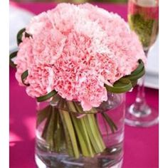Are you looking for pink wedding flowers? Find photos or pink wedding bouquets and other flowers along with names of these flowers and ideas on how to choose which ones to use. Carnation Centerpieces, Floral Centerpieces, Wedding Centerpieces, Centerpiece Ideas, Flower Centrepieces, Wedding Flower Arrangements, Floral Arrangements, Wedding Flowers, Green Wedding