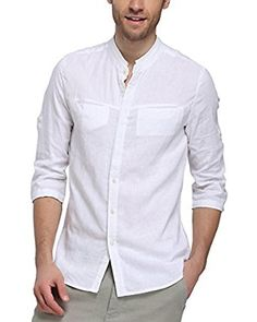 a7a10f8024f BYLUNTA Slim Fit Men s Linen   Cotton Long Sleeve Collarless Shirt (US M  (Asian-XL)) at Amazon Men s Clothing store