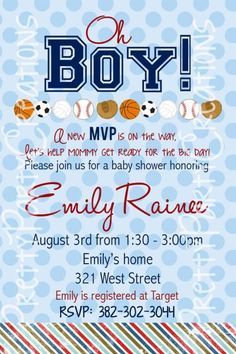 Sports Baby Shower Invitations And Theme