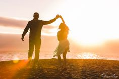 fun cute beautiful beach engagement photo