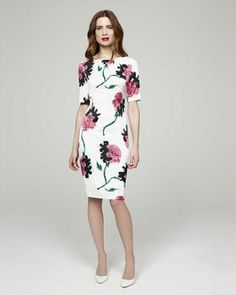 Jaeger Silk Rose Print Dress