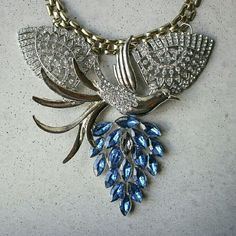 Peacock Bird Statement Blue Crystal Necklace