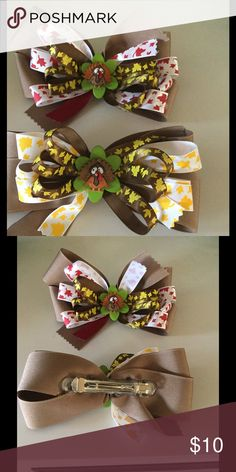 """Set of 2 Turkey Bow Barrettes Really cute set of 2 Turkey bow Barrettes, can be used as Barrettes, napkin holders or in a wreath. Each is approx 3 1/2"""" x 6"""" long none Accessories Hair Accessories"""