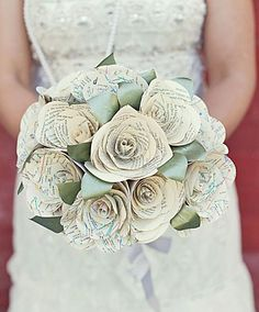 Paper roses. Could also do w/ maps from places lived, or other special places.