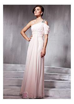 Elegant Sequin Net  Net & Chiffon & Satin Princess One-shoulder Short Sleeveless Prom Dress P2438 Prom Dress