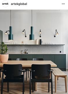 cool The Meaning of Green Kitchen Cabinet Inspiration Painting your cabinets is a reasonable remedy to modify your cabinet color, however it isn't a long-l. Nordic Kitchen, Scandinavian Kitchen, New Kitchen, Kitchen Decor, Kitchen Wood, Scandinavian Interior, Scandinavian Style, Green Kitchen Cabinets, Kitchen Wall Shelves