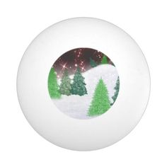 #christmas #zazzle Christmas evergreens on a hill with red sparkling sky.