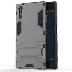 Sony Xperia XZ Case, [HEAVY DUTY] Iron Man Case [ULTRA WAR ARMOR] Premium Shockproof Kickstand Bumper Cover (Gray) - Cocomii