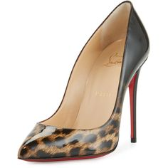Christian Louboutin Pigalle Follies Degrade 100mm Red Sole Pump (1,375 BAM) ❤ liked on Polyvore featuring shoes, pumps, leopard, patent leather pointed toe pumps, leopard slip-on shoes, leopard pumps, pointy-toe pumps and patent leather pumps