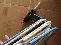 Regular hangers to no-slip hangers with a hot glue gun!