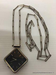 Oggettistica d`epoca - Orologi e portaorologi Antico orologio a collana in argento - Orologio dèco in argento 800 con catena Immagine n°1