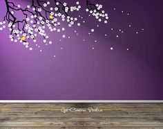 Tree Branch Decal Floral Branch Wall Decal Baby Room Decal Nursery Nature Wall Art Tree Decal Flower Decor Floral Tree Branch Wall Art by GetCreativeStudios on Etsy