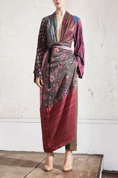 Maison Martin Margiela and H  Silk scarves top, £79.99; pattern-cut trousers, £59.99; silk scarves apron, £69.99