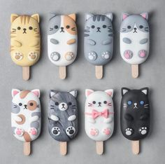 Cat Fondant, Cream Cat, Ice Cream, Magnum Paleta, Delicious Desserts, Yummy Food, Cute Baking, Kawaii Dessert, Aesthetic Food