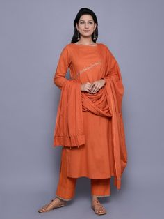 Orange Embroidered Cotton Kurta, Pants and Dupatta - Set of 3