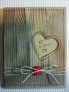 Inspired by a high school sweetheart, this Valentine was made using the woodgrain EF and Hearts a Flutter framelits, both from SU! #stampinup