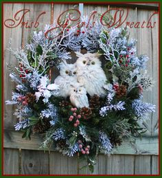 MADE TO ORDER Rustic Woodland Gray Winter Owl by IrishGirlsWreaths