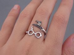Wrap Ring Harry Potter Inspired Jewelry Sterling Silver 925 Sorting Hat Glasses and Lightning Scar Ring Geek Ring Fashion Ring