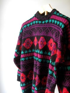 80s Neon Graphic Print Sweater Chunky Boho by ShantyIrishVintage #hipstersweater #bohosweater #hippiesweater #vintagesweater #80ssweater