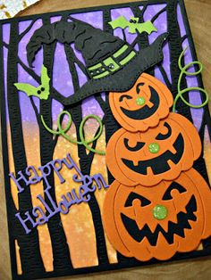Laurie here from Stamping Up North sharing a spooky Jack O' Lantern witch card today. just in time for Halloween! Cricut Halloween Cards, Cricut Cards, Halloween Crafts, Handmade Halloween Cards, Halloween Favors, Halloween 2017, Handmade Christmas, Thanksgiving Cards, Holiday Cards