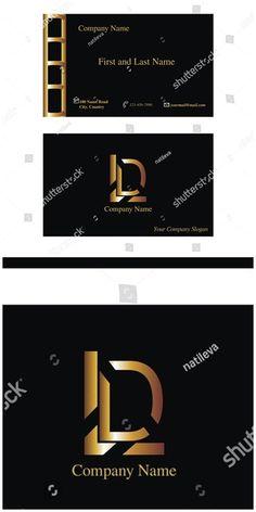 #vector #illustration Black #business #card with LD #logo #letter symbol