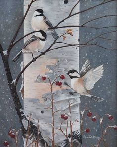 """""""Winter Chickadees"""" by Roger Dullinger: Original oil painting. Chickadees // Buy prints, posters, canvas and framed wall art directly from thousands of independent working artists at Imagekind.com."""
