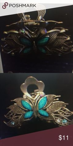"Turquoise and silver hair clip Purchased in Costa Rica! Butterfly clip with turquoise stones. 2.25"" long Accessories Hair Accessories"