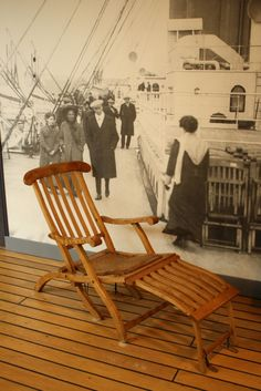 A deck chair preserved at the Maritime Museum of the Atlantic was part of the flotsam recovered at the site of the Titanic disaster. (Sigh, can't steal the one Milo made IT IS COMFY! Rms Titanic, Titanic Photos, Titanic Ship, Titanic History, Titanic Sinking, Southampton, Titanic Artifacts, Maritime Museum, Shipwreck