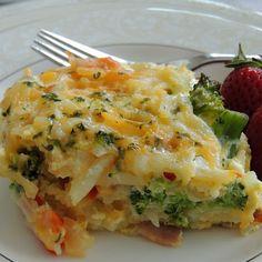 Potato, Broccoli and Pepper Jack Egg Casserole