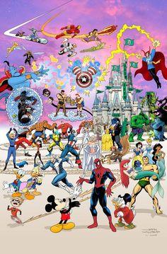 Marvel and Disney mashup! I'm a Disney fan, my hubby's a Marvel fan! Disney Marvel, Disney Pixar, Marvel Vs, Marvel Dc Comics, Disney And Dreamworks, Marvel Heroes, Disney Kunst, Arte Disney, Disney Magic