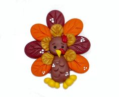 Polymer Clay Turkey Bow Center Fall Thanksgiving by DesignsByWho, $5.00