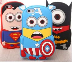 iPhone 6 6s Cartoon Superman Batman Iron man Captain America Despicable Me 3D Silicon Soft Case for iPhone 6 6s, 5s,SE IPhone 6 6s plus