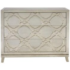 Bennett Hollywood Regency Silver Nickel Wood Decorative 3 Drawer Dresser. #kathykuohome