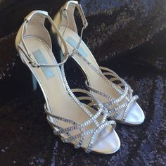 """Betsey Johnson Wedding Shoes These are my wedding shoes. Worn only that day. They are missing some stones, but I will ship with the box and some replacement stones. They were a perfect """"something blue"""" Betsey Johnson Shoes"""