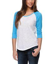 Zine Girls Raglan Blue & White Baseball Tee Shirt