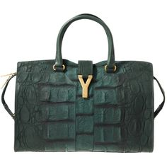 Yves Saint Laurent Green Croco Bag Cabas Chyc ($2,430) ❤ liked on Polyvore