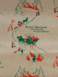 1930's vintage Christmas wrapping paper