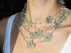 Linen Crocheted Lariat- Necklace. NELL. Natural Grey.. $32.00, via Etsy.