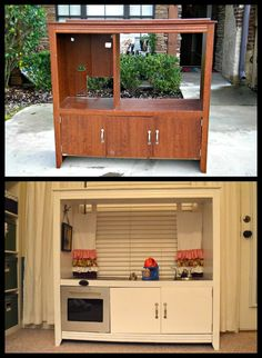 Looking for a great gift idea for little ones?  This is a great idea of turning an old entertainment center into a play kitchen.