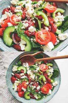 Greek salad with feta cheese and sun-dried tomatoes, Easy Salad Recipes, Easy Salads, Veggie Recipes, Healthy Recipes, Cottage Cheese Salad, Feta Salat, Salad Dishes, Greek Salad, Vegetarian Food