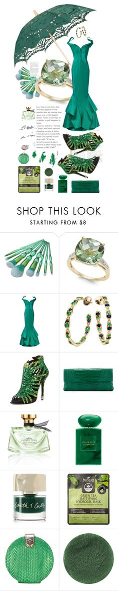"""""""...the color of envy"""" by rhaxkido ❤ liked on Polyvore featuring Zac Posen, Sabine Getty, Roger Vivier, Nancy Gonzalez, Bulgari, Giorgio Armani, Smith & Cult, Boscia, Stephanie Johnson and Lipstick Queen"""