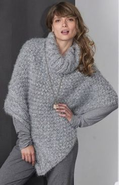 modele gratuit de poncho a tricoter