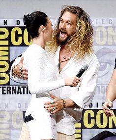 "galgadotsource: ""Gal Gadot and Jason Momoa attend the 2017 San Diego Comic Con, Warner Bros. Presentation. """