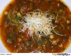 Cizrnová polévka s rajčaty a zeleninou Chana Masala, Chili, Spaghetti, Soup, Yummy Food, Beef, Ethnic Recipes, Meat, Chile