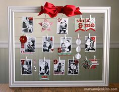 DIY string-frame.  mini clothes pins = adorable! white frame with any color bow and you could switch for each holiday/season! :)
