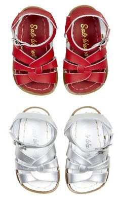 Salt-Water sandals, I grew up wearing these and now there my kids favorites!! Love the patten leather hot pink for S, and navy for K